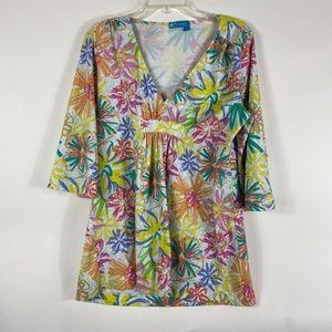 Fresh Produce 3/4 Sleeve Colorful Flower Shirt
